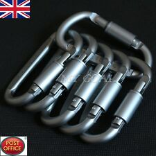 5x Outdoor Aluminum D-Ring Screw Locking Carabiner Hook Clip Climbing Keychain