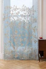 Paradiso Scottish Lace Curtains - Madras, 68 x 118 Long, Turquoise/Stone