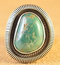 Sterling Silver Stone Mountain Turquoise Old Style Navajo Ring Signed Ned Nez