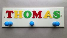PERSONALISED CHILDREN'S NAME PLAQUE / COAT RACK WITH HOOKS - CHOICE OF COLOURS