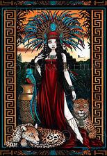 Toltec Jaguar Quetzal Priestess Zyanya Myka Jelina 13x19 inch Print Signed