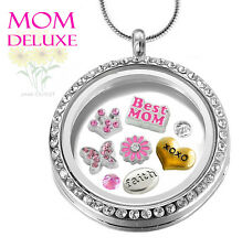 MOM DELUXE CRYSTAL Memory DETACH Key Chain Locket Pendant Set Floating Charms
