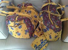 Large Vera Bradley Yellow 4 PC Duffle / Tote Set Makeup Jewelry Bag Retired