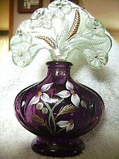 FENTON - PURPLE PERFUME BOTTLE  WITH STOPPER - C. RIGGS SIGNED - ORIGINAL BOX!