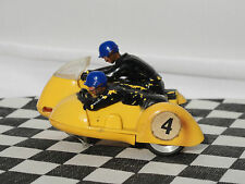 SCALEXTRIC TYPHOON B1 YELLOW BIKE #4 BLUE HELMET   1960'S   1.32  USED UNBOXED