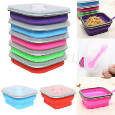 Collapsible Lunch Box Food Container Picnic Storage Portable Bento  Bowl Spoon