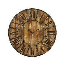 "Vintage Wall Clock Rustic Antique Large 24"" Round Distressed Industrial Face"