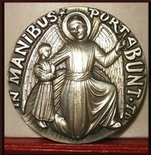 SUPERBE RARE MÉDAILLE RELIGIEUSE BRONZE RELIGEOUS ANGEL AND CHILD