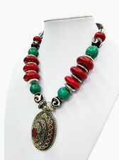18'' Ethnic Red Bead Turquoise Necklace Tibetan Silver Oval Pendant JEWELRY