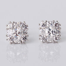 18k white gold filled new fashion white Sapphire wedding Stud Pierced Earrings