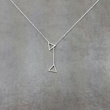 Double Triangle Silver Plated Necklace Gift Angle Drop Geometry Collar Jewelry