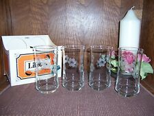 Set / 4 New Libbey Bolero Style Etched 12 oz. Beverage Glasses-Dated 1/2 of 1979