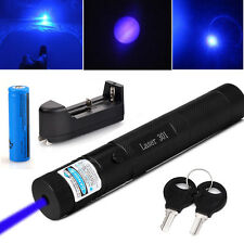 Military Burning Zoomable 405nm Blue Purple Laser Pointer Pen + 18650 + Charger