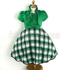 NEW 2PC Kid Flower Girl Pageant Party Birthday Dress Outfit Set Green SZ 5 Z445A