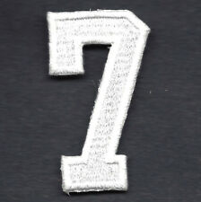 "NUMBERS  - White Number ""7"" (1 7/8"") - Iron On Embroidered Applique/Numbers"