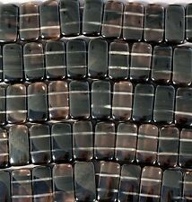 DOUBLE DRILL SMOKY MIDNIGHT LACE ICE OBSIDIAN VOLCANIC GLASS 10x20MM RECTANGLE