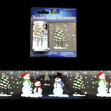 2 x 2m Window Border Cling Sticker Snowman Reindeer Tree Christmas Decorations