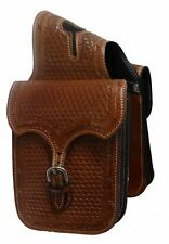 Basket Weave Tooled Leather Western Horn Bag for Horse Saddle! Free Ship!