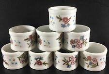 Vintage Town & Country Linen Porcelain Floral Napkin Rings Set of 8 Round