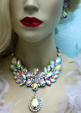 Rhinestone Necklace Earring Set AB Large Collar Crystal Prom Pageant Drag Queen