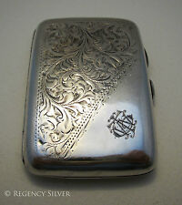 Hallmarked Solid Sterling Silver Antique English Cigarette/Cigar/Vesta/Card Case