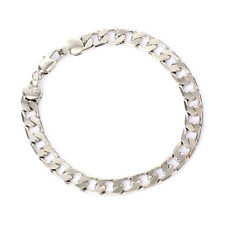 Mens cuban link chain bracelet 8.6 inch lucky White gold filled punk jewelry