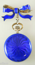 Beautiful Ladies Blue Enamel Fob Watch and Matching Bow Pin c1890