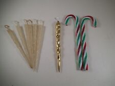 Vintage Lot of Christmas Decorations Ornaments Candy Cane Plastic Icicles