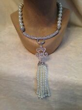 HEIDI DAUS White Pearl Massive Tassel NECKLACE - White SWAROVSKI Crystals BRIDAL