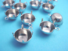 12 silver  Round Prong Settings 48SS 11mm 1 Ring charm closed  back charms