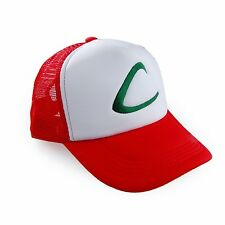 US Pokemon Ash Ketchum Adjustable Mesh Cosplay Hat Free White Red Cap Hot New