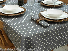 140x260cm RECTANGLE VINTAGE GREY WITH CREAM POLKA DOTTABLECLOTH - 8 SEATER