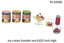 STRAWBERRY ICE CREAM SUNDAE SET DOLLHOUSE MINIATURES 1:12 SCALE