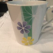 GIBSON Coffee Tea Cups Mugs ~ White with Purple and Yellow Flowers- SET OF 4
