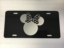 Girl Mouse Logo Car Tag Diamond Etched on Black Aluminum License Plate