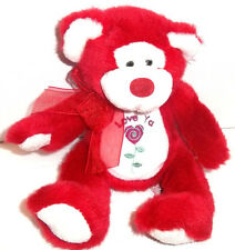 """Russ Berrie 8"""" Red & White POOKIE """"I Love Ya"""" Teddy Bear w/ Ribbon"""