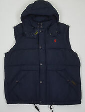 POLO RALPH LAUREN ELMWOOD DOWN HOODED VEST NAVY BLUE RED $245 NWT (SIZE LARGE)