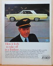 1964 magazine ad for Ford - Fairlane 500 Sports Coupe photo with plane captain