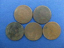 5 PC U.S. INDIAN CENT COIN LOT 1865 1875 1880 1885 1894