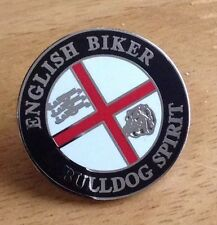 English Biker BULLDOG SPIRIT Motorcycle Enamel Pin Badge St George Flag 3 Lions