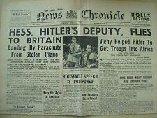 NEWS CHRONICLE WWII NEWSPAPER MAY 13th 1941 HESS - HITLER'S DEPUTY FLIES BRITAIN
