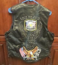 Leather Kings Biker vest 42 with snap extenders 12 patches POW Veteran Eagle
