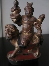 ANTIQUE CHINESE GILT WOOD CARVING Man on Foo Dog w COA Certificate of Antiquity