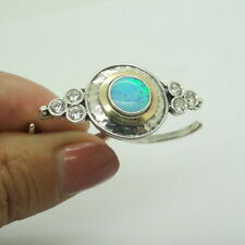 925 Double Finger Opal Ring,Two finger ring,Yellow Gold, adjustable silver ring
