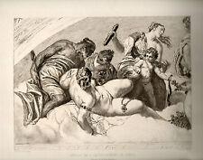 gravure eau-forte de A.Gilbert d'après Paul Véronese.L''accouchement de Venus