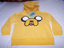 Adventure Time Boys Jake Face Yellow Printed Warm Hoodie Jumper Size 16 New