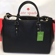 NWT KATE SPADE BLACK Mulberry Street Leighann Leather Satchel Tote $429