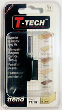 "Trend T-Tech TT/19 - 1/4"" TCT Straight Two Flute Router Cutter Bit for Wood"
