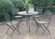 5 pc Patio Outdoor Garden Yard Dining Set Round Table Folding Chairs Metal Mesh