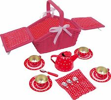 "NEW Toy Picnic Basket ""Sarah"" Red Wicker Full Set with Plates Cups kettle & more"